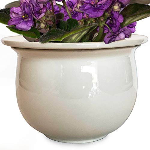 """African Violet Pot Ceramic 6.5""""W x 4.6""""H Self Watering Planter for Indoor Flowers and Plants Glazed White Outer Plant Pot with Highly Absorbent Inner Planter Pot for Tropical Plants"""