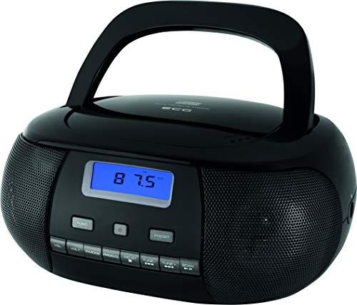 ECG CDR 500 Black CD-Radio – CD, CD-R/RW; MP3; FM Radio; 20 Tuner-Vorwahlen; LCD-Display; Uhr (im Modus Stand-by); AUX-Eingang; Kopfhörerausgang Schwarz