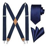 HISDERN Tirantes Sólidos y Corbata Set Hombre Tuxedo Tirantes Elásticos para Pantalones Tirantes X-Back con Clips Fuertes, Azul Marino