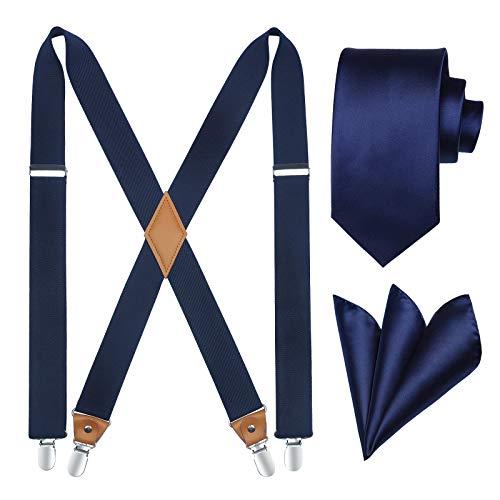 HISDERN Tirantes para hombre X Forma Tirantes y Corbatas Set con 4 Clips Fuertes Elásticos Longitud Adjustable para Pantalones Tuxedo Azul Marino