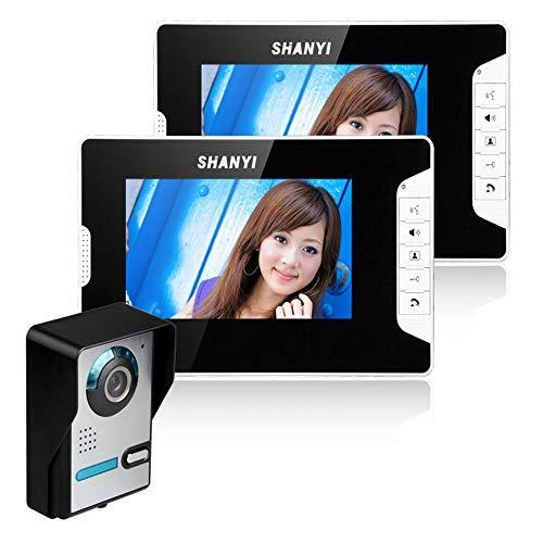 Interfono de puerta de 7 pulgadas con infrarrojos y visión nocturna, con 2 monitores, timbre de audio, interfono visual, IP65, función de control de bloqueo eléctrico