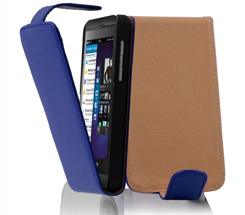 Cadorabo Hülle für BlackBerry Z10 - Hülle in KÖNIGS BLAU – Handyhülle aus Strukturiertem Kunstleder im Flip Design - Hülle Cover Schutzhülle Etui Tasche