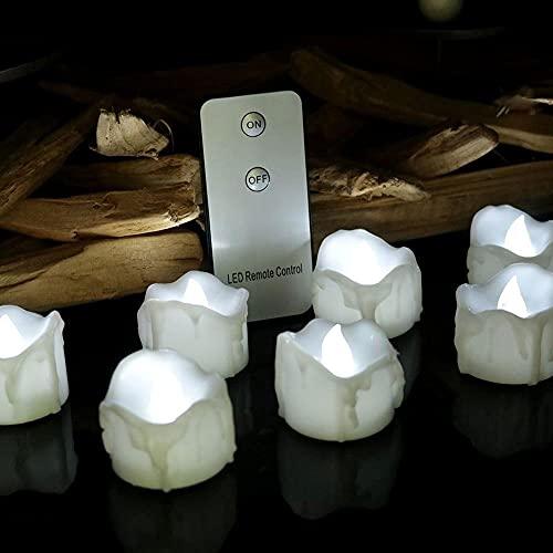 ZHAHAPPY 12pcs / Pack Luces LED De Té - Velas Velas Sin Llama Velas De Batería De Luz Luz De Lágrima LED Tealight para Decoración De Bodas Y Fiestas (Color : White Remote)