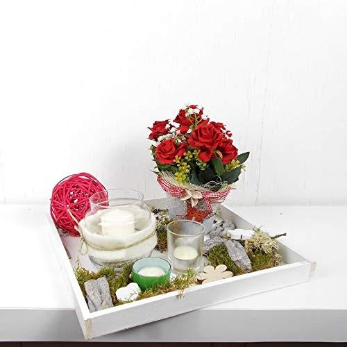 Tischgesteck in rot weiß, mit Windlicht und Kerze, Frühlingsdeko, Wohndekoration, Tischdekoration