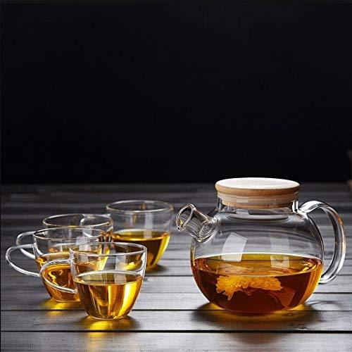 YINUO Teekannen Glas-Teekanne Glas-Glas-Teekanne hitzewiderstandsfähiger Verdickungsfilter Blume Glas-Teekanne Tee-Set (Color : 1000ml)