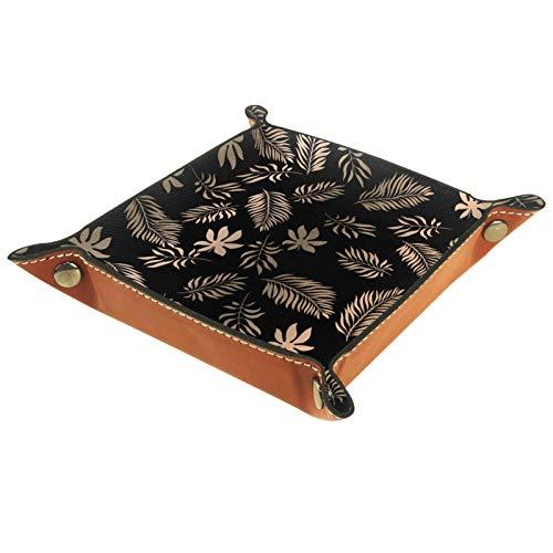 Bandeja de dados, plegable de cuero para dados, para juegos de dados, D&D y otros juegos de mesa, patrón de hojas doradas tropicales de lujo