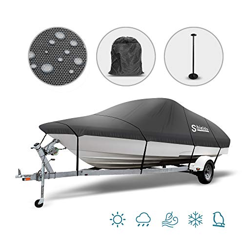 Shieldo Trailerable Boat Cover, Heavy Duty Waterproof 600D Oxford Marine Grade Boat Cover Fits 14ft-16ft V-Hull, Tri-Hull, Fishing Ski Pro-Style Bass Boats, Adjustable Support Pole & Tightening Strap