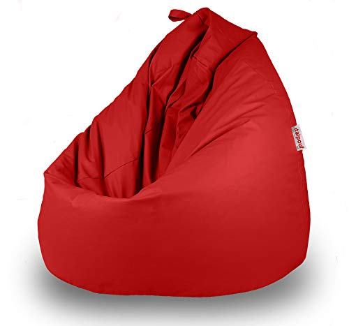 Italpouf - Puff Pera de Polipiel XXL 100 x 130 cm 500l con Funda Extraible Indoor Muy Resistente Moldeable con Relleno, 21 Colores (Rojo)