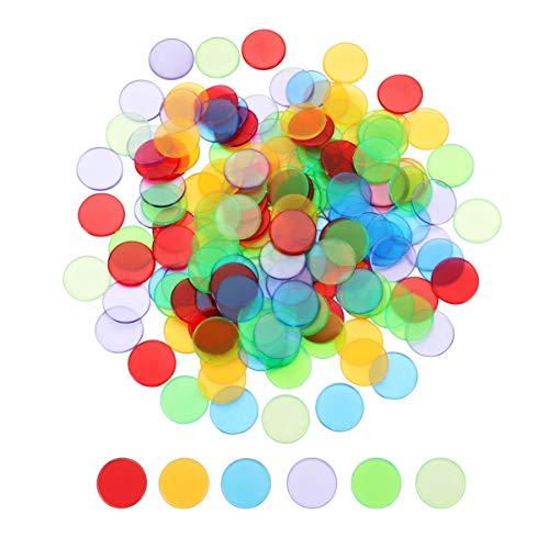 STOBOK Transparente Bingo Chips Bingo Liefert Bunte Bingo Zählen Chip Kunststoff Marker Bingo Spiel Zubehör Party Favors 240Pcs