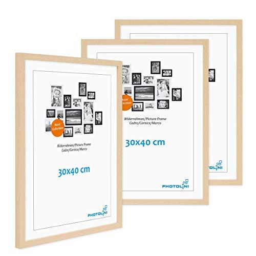 Photolini Juego de 3 Marcos 30x40 cm Modernos, Naturales de MDF con Vidrio acrílico, Incluyendo Accesorios/Collage de Fotos/galería de imágenes