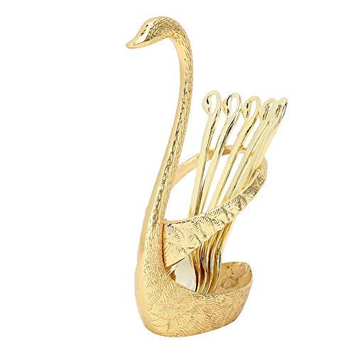 Cuchara de café, cucharaditas de acero inoxidable, cubiertos, cuchara de postre, juego de cubiertos con soporte de base de cisne, decoración para el hogar(Oro)