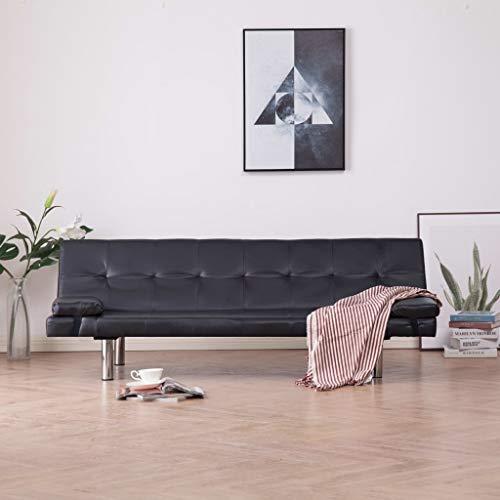 Festnight Schlafsofa mit 2 Kissen Sofabett Sofa mit Bettfunktion Klappbar Schlafcouch Couch Couchgarnitur Sofagarnitur Wohnzimmer Braun Kunstleder