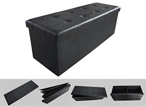 Todeco - Banc Pliant, Ottoman avec Espace de Stockage - Charge maximale: 150 kg - Matériau: Simili-Cuir - Finition piquée et capitonnée, 110 x 38 x 38 cm, Noir