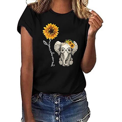 Darringls Magliette Manica Corta Donna Estate Camicia Elegante Tops 2019 Maglietta Ragazza Tumblr T-Shirt 2019 Autunno Stampata a Cuore Bluse Casual Camicia Sportivi Cotone Stretch Maglione
