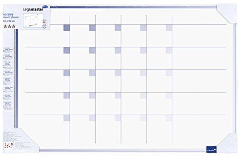 Legamaster 7-489500-1 Accents Plan-whiteboard, bedrukt met maandplanner, gelakt stalen oppervlak, zichtverpakking 90 x 60 cm