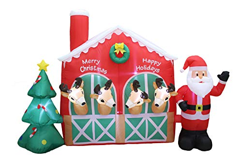 9 Foot Long Christmas Inflatable Santa Claus Reindeer in Stable with Christmas Tree Cute Lights Lighted Blowup Party Decoration for Outdoor Indoor Home Garden Family Prop Yard
