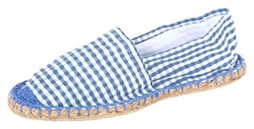 Sommerlatschen Espadrilles, Espadrilles für die Wiesn - blau, Unisex, SL1417, Größe 42