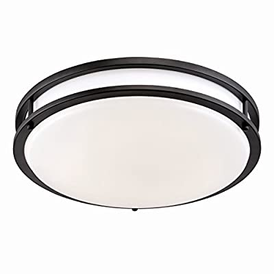 "LED 12"" Oil Rubbed Bronze / White Flush Mount Ceiling Light, 3,000K Soft White, 1150 Lumens, Dimmable"