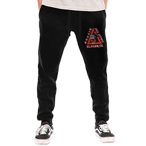 huatongxin Gracie Jiu Jitsu Academy Logo Men's Pantalones de chándal clásicos con cordón Bolsillos con Cremallera Pantalones Deportivos Deportivos