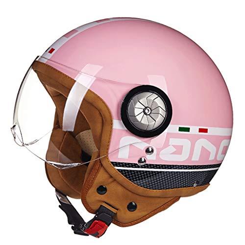 Motorradhelm Männer und Frauen Half-Covered Halbe Helm Prince Helm Retro Elektroauto Vier Jahreszeiten Motorrad Schutzhelm (Farbe : Pink, größe : M)