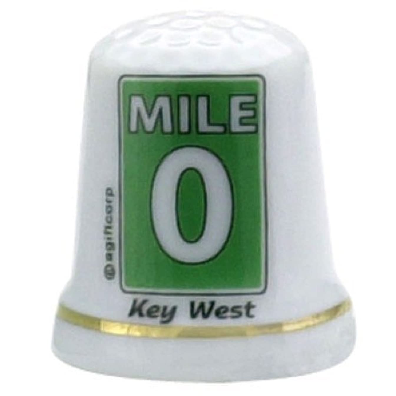 Key West Florida Mile 0 Pearl Souvenir Collectible Thimble agc