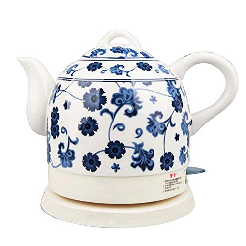 Kettles - Electric Ceramic Cordless White Kettle Teapot - Retro 1.0L Jug, 1350W Boils Water Fast for Tea, Coffee, Soup, Oatmeal - Removable Base, Boil Dry Protection/B