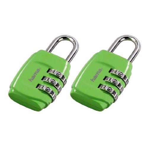 Hama Zahlenschloss für Koffer und Gepäck auf Reisen, 2er Set, grün
