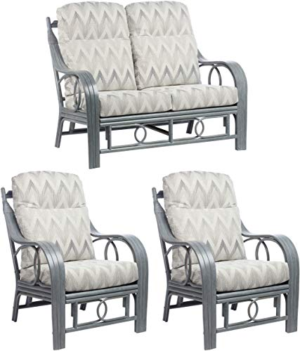 Desser Madrid Grey 3 Piece Conservatory Furniture Set – 2 Seater Sofa & 2x Armchair Suite Real Cane Rattan Indoor Conservatory Furniture with UK Made Cushions in Yang