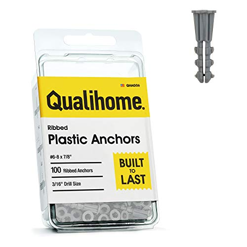 "Premium Quality Grey Ribbed Plastic Anchors, 100 Pack (#6-8 x 7/8"")"
