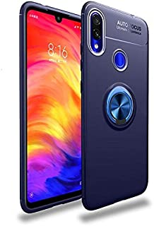 back cover for Xiaomi redmi note 7 Finger Ring Kickstand TPU Case Cover with Built-in Magnetic Metal Sheet - Blue