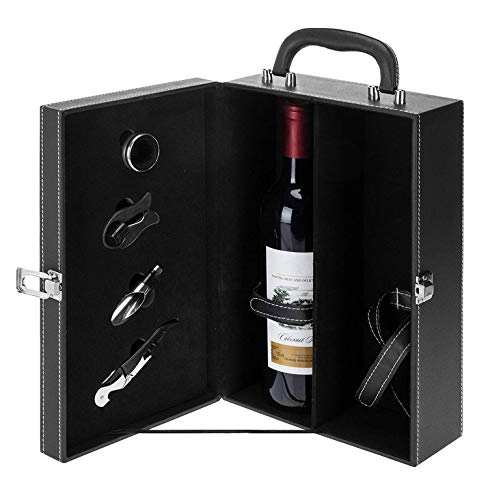 FXXJ 2 Bottle Top Moderne Poignée Voyage vin Porte-Cas, Bouteille de vin boîte-Cadeau Présentation de Cas et 4pc Accessoires Set