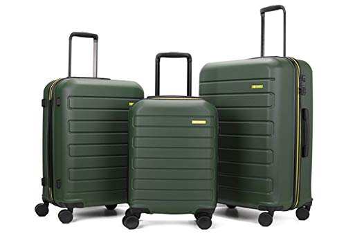 GinzaTravel Hardside Spinner, Carry-On, Wear-resistant, scratch-resistant Suitcase 20''24''28''set Luggage with Wheels (3-piece Set, Dark green)
