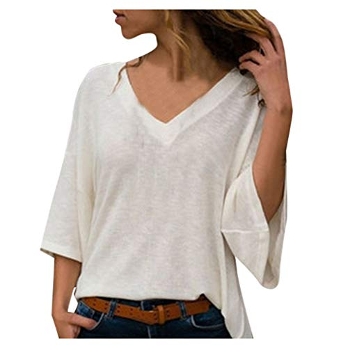 Women Blouses Under 10 Dollars Long Sleeve Fashion Casual Tunic Mid-Sleeve Shirts Solid Knitwear Fall Tops