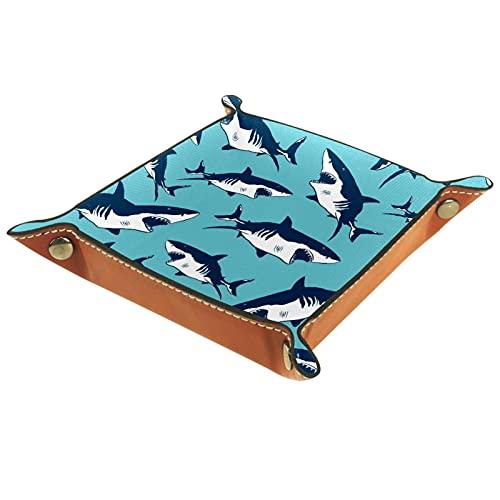 AITAI Bandeja de valet de cuero vegano, organizador de mesita de noche, placa de almacenamiento de escritorio, tiburones, azul marino