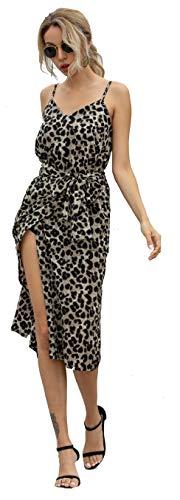 Longwu Women's Sexy Elegant V-Neck Spaghetti Straps Split Irregular Hem Midi Dress with Belt Khaki-XL