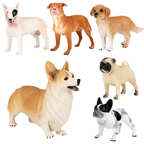 WIOR 6Pcs Dog Figurines for Kids, Realistic Solid Plastic Animal Figurines Toy Set, Small Dog Puppy Figures Playset Educational Learning Toys for Kids Toddlers Children with Corgi Bull Terrier Bulldog