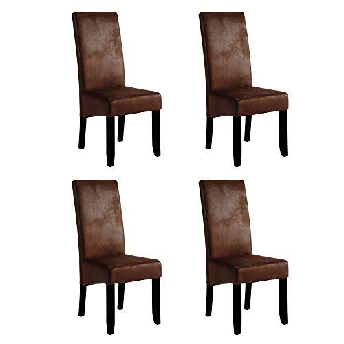 Pack 4 sillas Sagua Color castaño y Negro salón Comedor Estilo Vintage Industrial 108x47x62 cm…