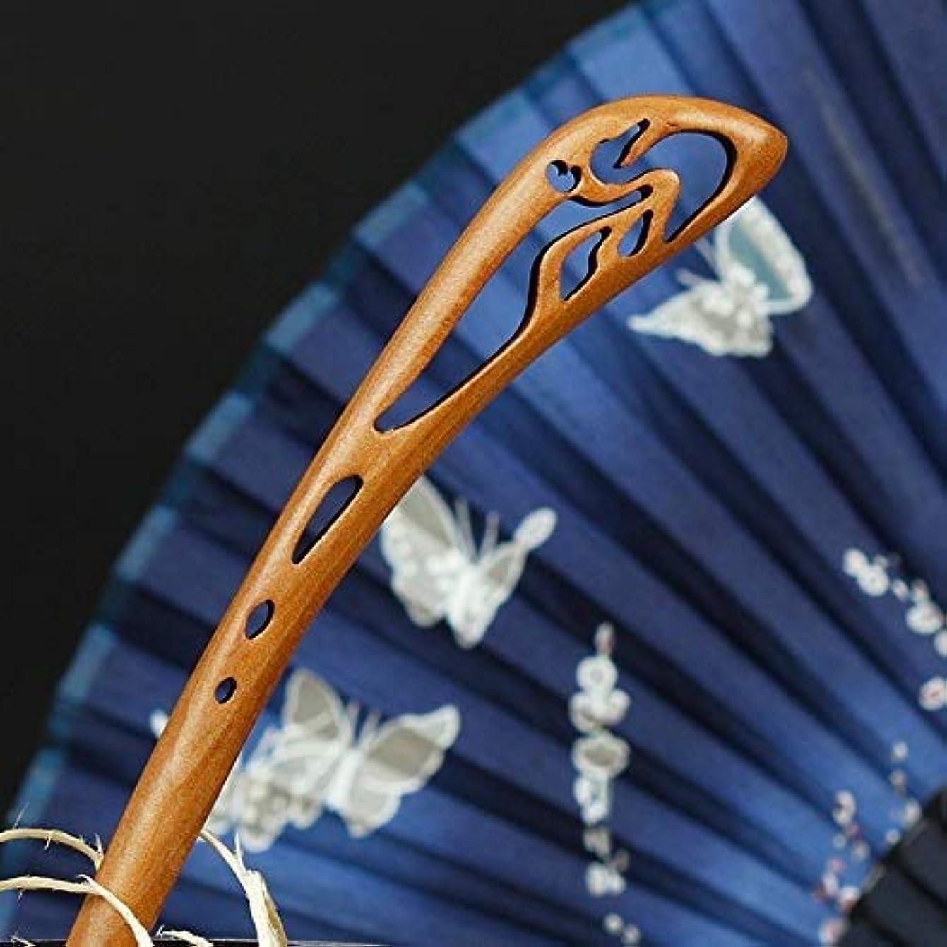 クモ憂鬱なとんでもないHPYOD HOME 中国風の木製レトロヘアピンパレスヘアクリップ(ブラウン)ヘアピン