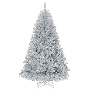 Goplus 6ft Sliver Artificial Christmas Tree, Hinged Full Tree with Electroplated Technology and Metal Stand, for Indoor and Outdoor Holiday Decoration