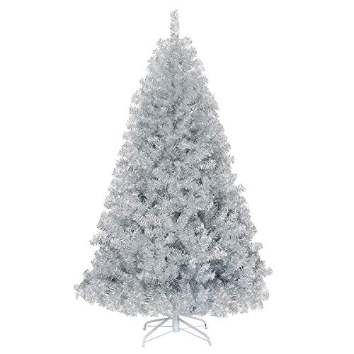 Goplus 7.5ft Unlit Artificial Christmas Tree, Sliver Hinged Spruce Full Tree with Metal Stand, 100% New PVC Material, Xmas Tree for Indoor and Outdoor Decoration