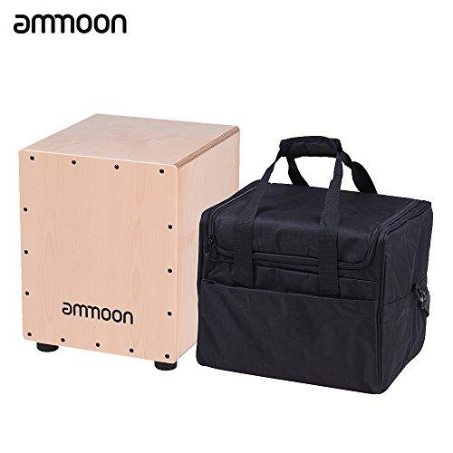 ammoon カホン ボックスカホン 29.5 * 31 * 37cm ハンドドラム 木製 打楽器 調節可能な弦 ゴム足付きケース付き (1)
