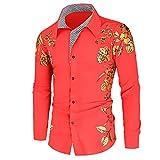 CFWL Camisa Estampada Bronceadora De Moda Camisa De Manga Larga Retro Con Solapa Para Hombre Capucha Chaqueta Casual De AlgodóN Militar Aviador Para Chalecos Corte Camisa Manga Rojo Xxl
