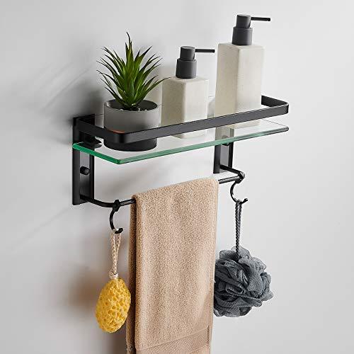 Solución de estantería de baño, estantes de baño, montaje en pared, estante rectangular de vidrio templado con barra de toallero,...