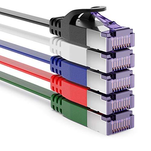 deleyCON 5X 1m RJ45 Cable de Conexión Cable Plano con Cable Bruto...