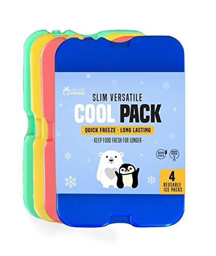 Siberini per portapranzo - Panetti refrigeranti- Siberini originali | Panetti di ghiaccio sottili e durevoli per porta pranzo o borsa termica (set da 4)