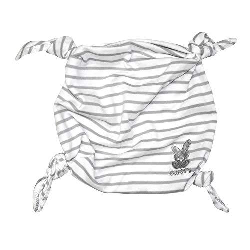 Ewers ORGANIC Baby Kuscheltuch gestreift mit Stickerei, für Mädchen und Jungen, 100% Bio-Baumwolle, Streifen, Schmusetuch, Schnuffeltuch