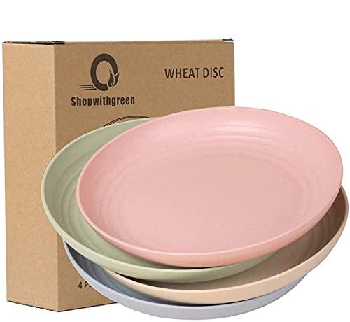 shopwithgreen - Juego de 4 platos grandes de 25,4 cm de polipropileno saludable, irrompibles y resistentes, cubiertos   aptos para microondas y lavavajillas, varios colores
