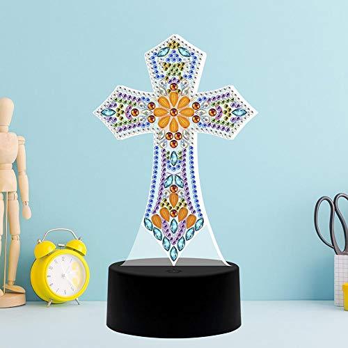 Lámpara de pintura de diamante DIY con luces LED Kit de dibujo de cristal de taladro completo 5D Noche de noche Artesanías artísticas para regalos de decoración del hogar(1)