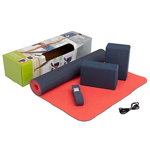 "Yogaset\""Flow\"" (blau),1 Yogamatte aus TPE, 2 Yoga-Bricks aus EVA (Moosgummi), 1 Yoga-Gurt aus Baumwolle, Einsteiger-Set, Yoga-Set für Anfänger"