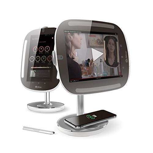 HiMirror Mini Premium X 64GB Beauty Skin Analyzer, Makeup LED Lights, Smart Vanity Mirror with a Nonstationary Screen and Wireless Charging Pad, Silver